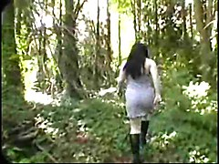Fat Chubby GF shows her Big Tits and Pussy on the Woods