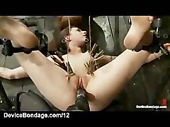 Bound babes machine fucked and zipped