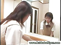 Real amateur asian teen gets pussy fucked and bukkake