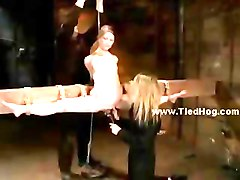 Slave tied like a hog is made to give blowjob in extreme deepth