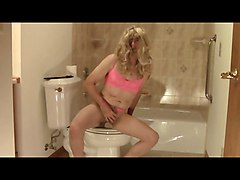 Pantyhose Sissy Bathroom Cock Spanking Dildo CD