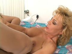 Blonde Milf Fucks In Open Pantyhose