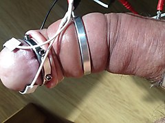 hard estim session on pumped cock, cum flood at the end