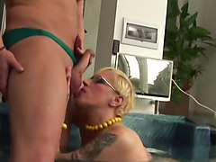 hungarian milf with glasses by pool