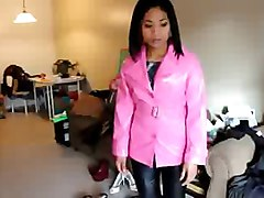 asian in pink pvc coat and black leather pants