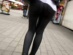 great ass in shiny leather pants - slow motion