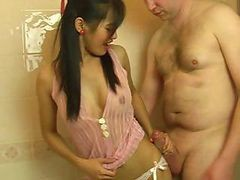 Cute Little Thai Girl Gives Him A Blowjob While In The Bathtub