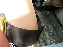 leather skirt close up
