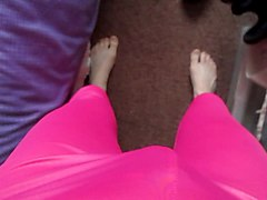 my new pink shiny leggings and purple satin panties.
