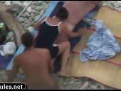 Teen Amateur Threesome Sex In The Beach