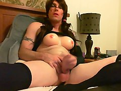 sexy crossdresser has a powerful orgasm