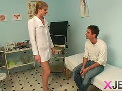 Blonde nurse takes it in the ass