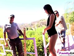 step dad rocks his stunning brunette babe hard