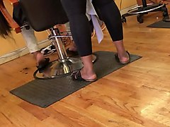 ass in tights at hair salon