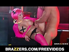 bigtit pink goth girl is fucked fast in strip bar