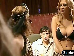 horny dudes teasing with huge titted belly dancers