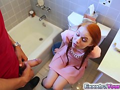 dolly little stuck in toilet and must suck cock