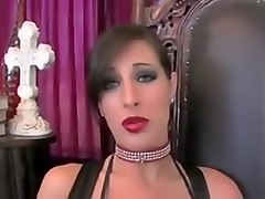 Stunning Brunette w Juicy Red Lips Sucks Big Cock
