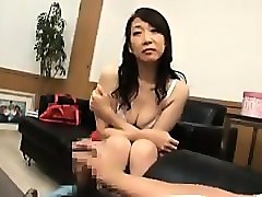 attractive lady fingers her pussy while a horny guy strokes