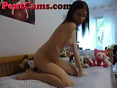 here is my girlfriend's first solo session in front of her webcam
