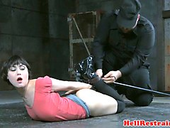 tit bound sub gets brutal nose hook treatment