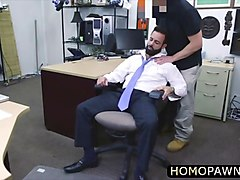 white hairy mature straight man gets his cock sucked and he fucked in the shop movie