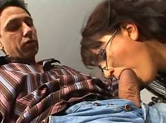 Mature in Glasses Gets Anal