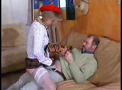 Two older guys fucking the cute French girl