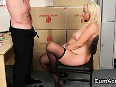 slutty peach gets sperm load on her face gulping all the jiz