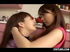 japanese lesbians suck face in the kitchen