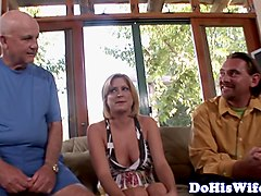 Milf beauty facialized in front of husband