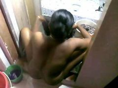 Indian Maid Washing Clothes Naked After Owner Fucked Her
