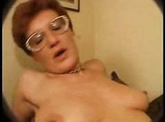 Hairy mature in glasses takes on two cocks and fucks both