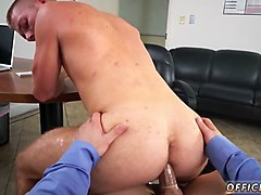 horny office worker rides his gay boss in pov