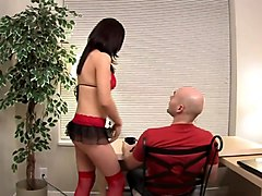 Brunette chick masturbates in front of her boyfriend