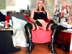 Crudelitas in black thigh boots masturbating 1