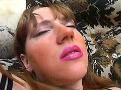 woman in wonderful lipstick using fucktoy in labia