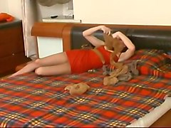 Pantyhose lezza sex toy play - she is so wet!
