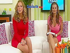 Hot woman in red dress in television