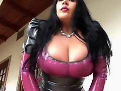 Busty Clear Latex Blowjob Bitch - Latex Blowjob Handjob in the Garden - Cum on my Tits