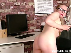 horny office babe lucy lume fucks big toy in sheer black nylon pantyhose and leather mini skirt