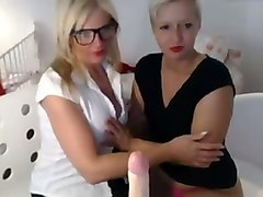 two seductive blonde milf teasing me on webcam with kinky lesbian action