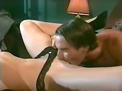 marvelous blondie in black lingerie undressed and seduced for sex