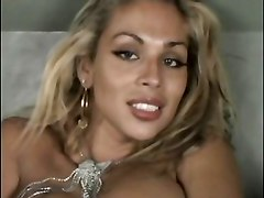 Gorgeous Blonde Shemale Strokes And Cums