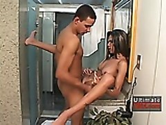 Shemale Fucked In Bathroom And Get A Cumshot