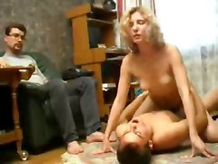 Russian Husband Watches His Friend Fuck His Wife Then Joins In