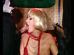 Blond Fetish Whore Sucks Gently Two Cocks