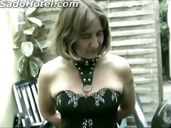 Beautiful Older Slave Got Spanked On The Ass And Tied Up To A Chair By Masked Master
