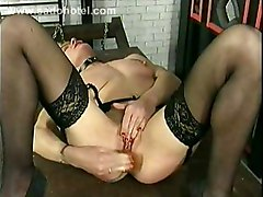 Milf Slave With Tiny Tits Fucks Herself With A Dildo While Her Master Is Watching Her