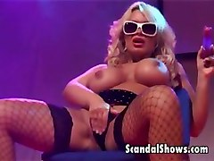 Busty Stripper Spreading On Stage